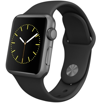 Apple Watch Sport Smart Watch (38 mm deep space gray aluminum metal case with a black sport strap MJ2X2CH / A)
